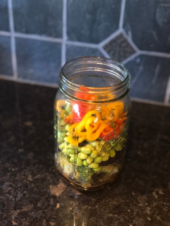 Add bell peppers to Mason Jar