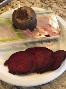 Be careful of fingers but this is a great way to slice your beets.